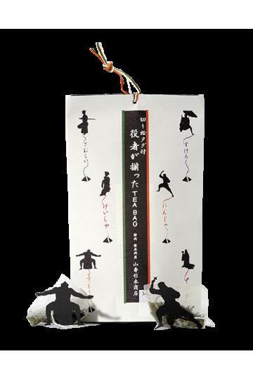 6 tea bags of sencha green tea with actor figures